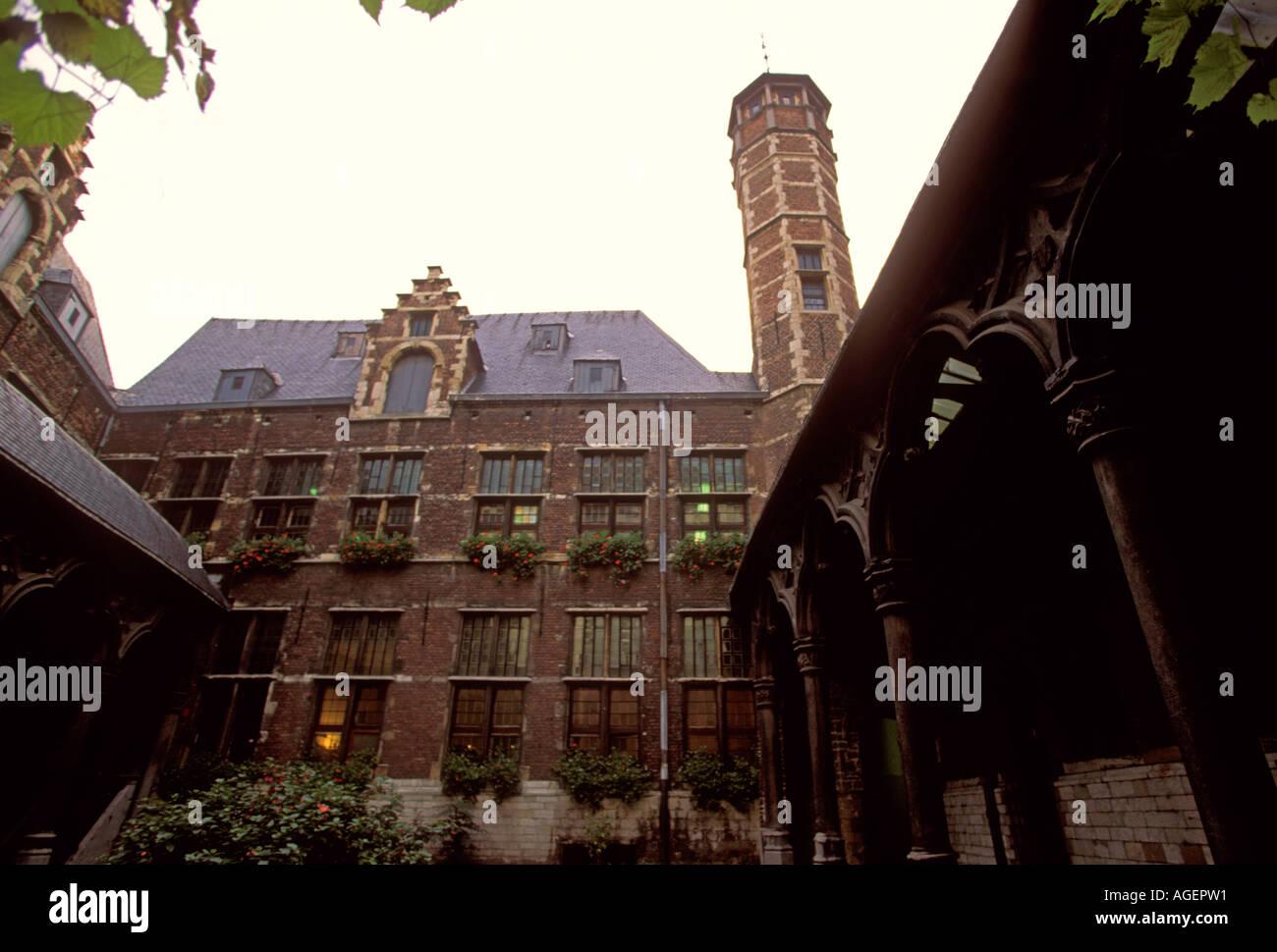 Inner Courtyard, Lookout Tower, Old Exchange, Antwerp, Antwerp Province, Belgium, Europe - Stock Image