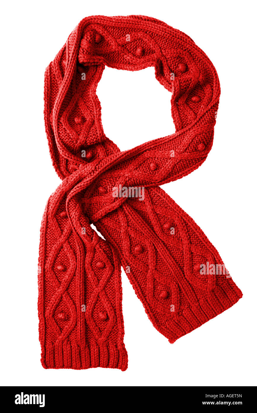 Red wool scarf isolated on white background - Stock Image