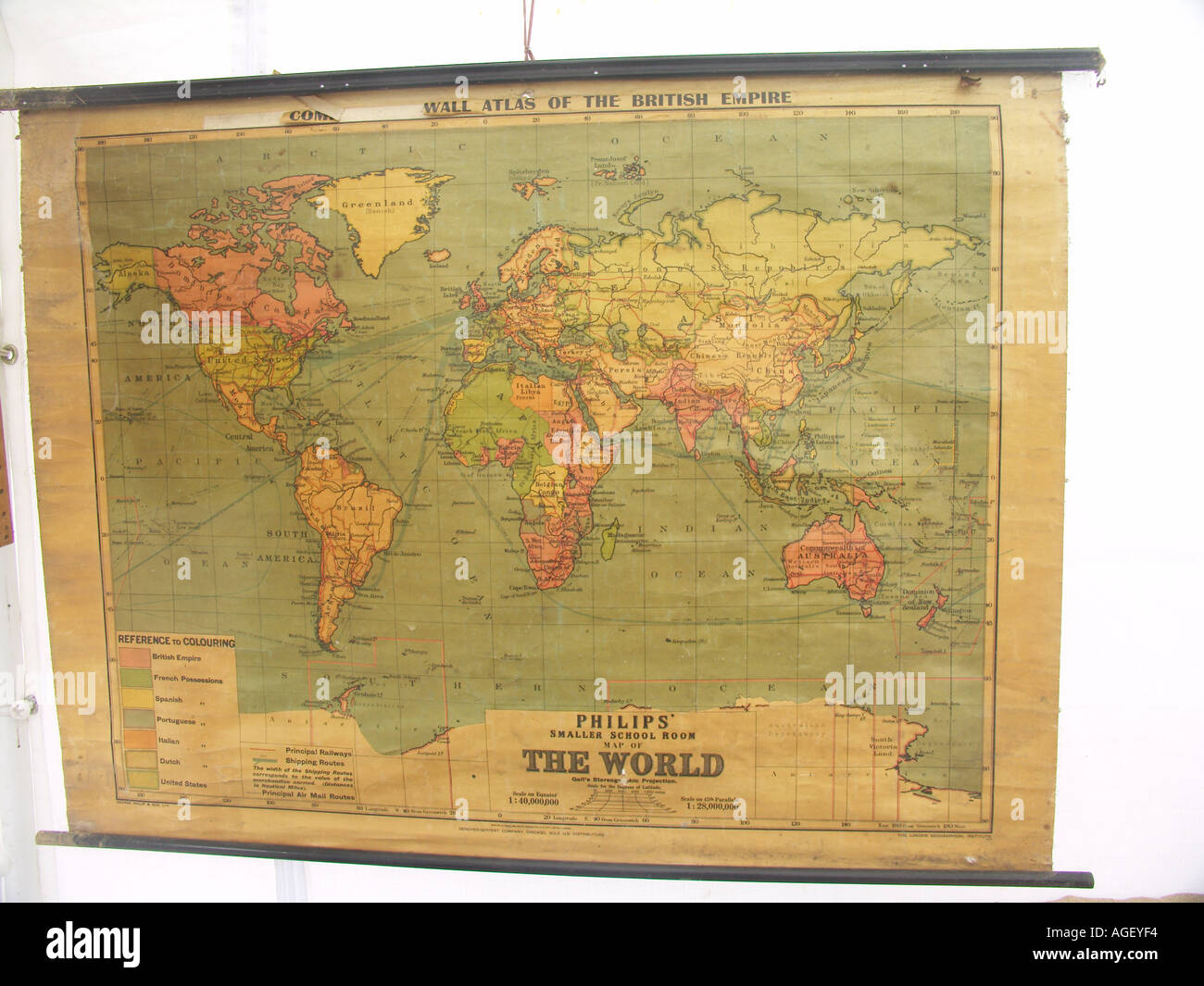Old school wall map showing British Empire in red Stock Photo ...