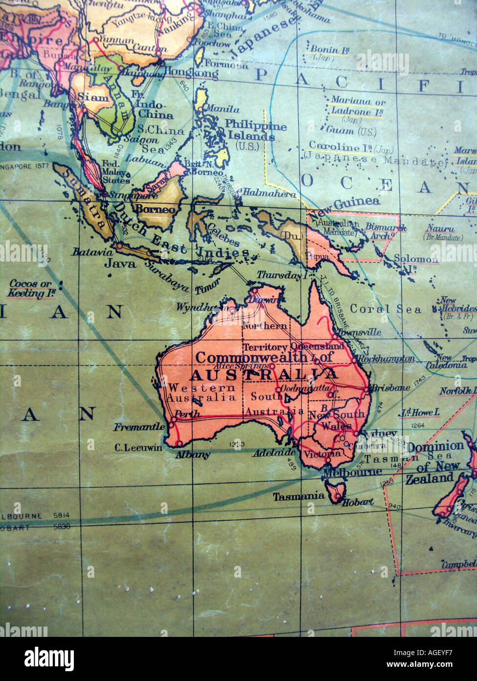 Old school wall map showing British Empire in red focus on Stock