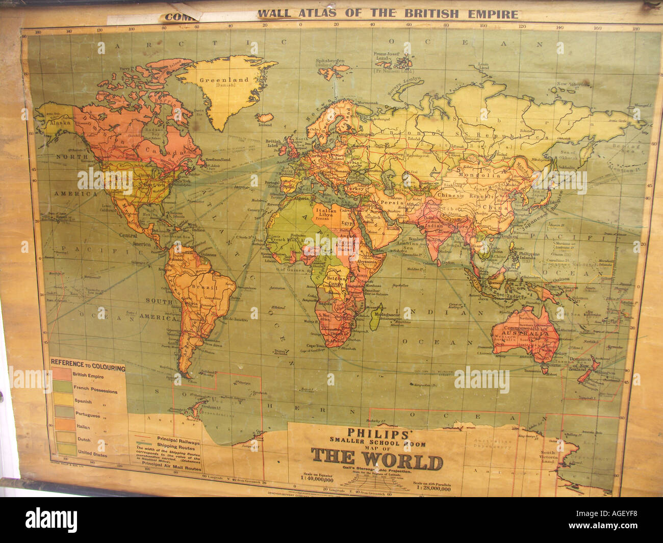 Old school world wall map showing British Empire in red Stock Photo ...