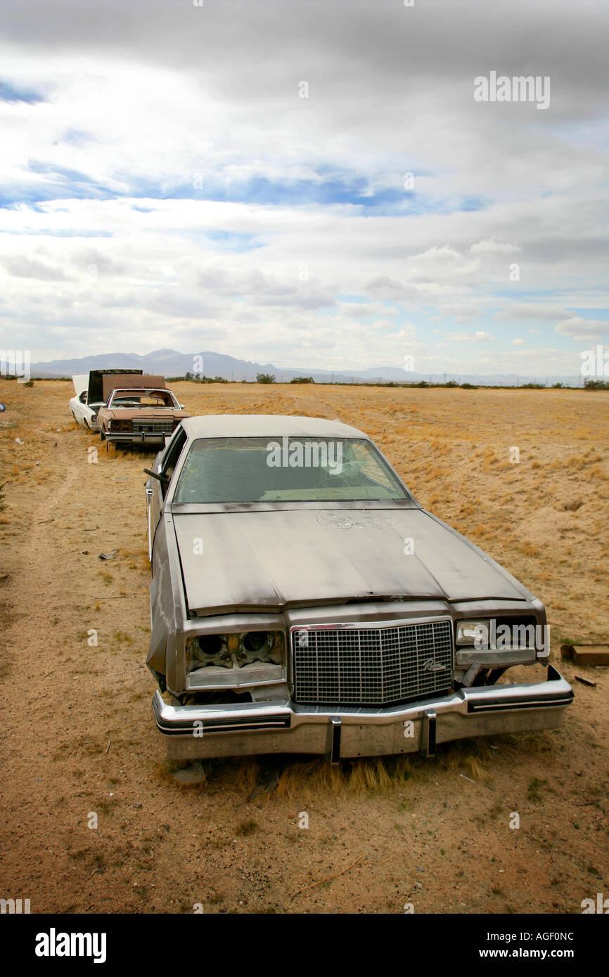 abandoned cars in the arizona desert junk yard Stock Photo ...