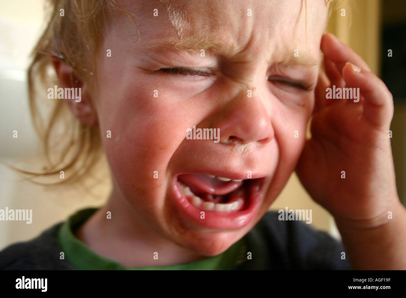 close up of toddler crying, one year old with hand on head, having a temper tantrum - Stock Image