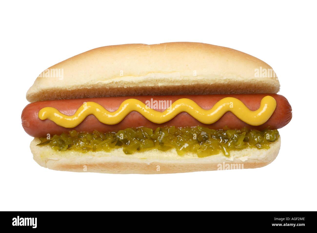 Hotdog with mustard and relish - Stock Image