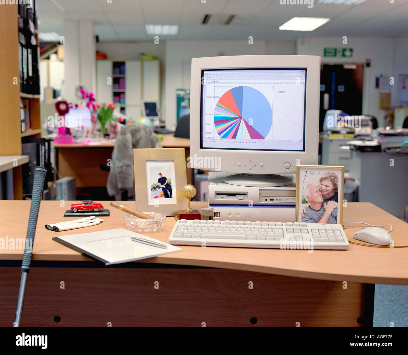 Masculine objects on desk - Stock Image
