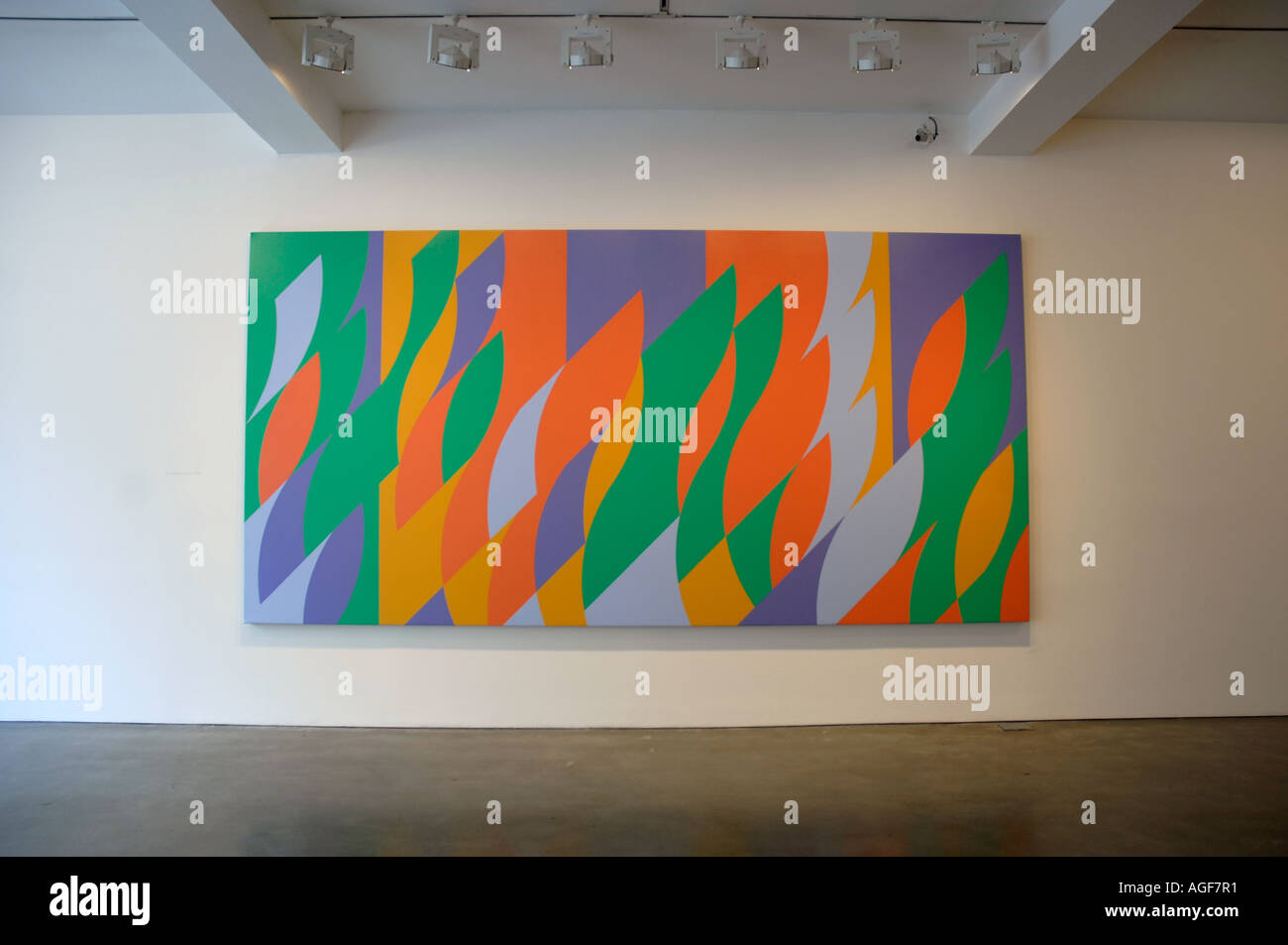 Bridget Riley painting in an art gallery - Stock Image