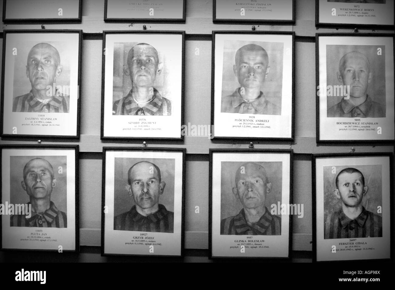 Pictures of prisoners in Nazi Concentration Camp in Auschwitz Birkenau, Oswiecim Poland - Stock Image