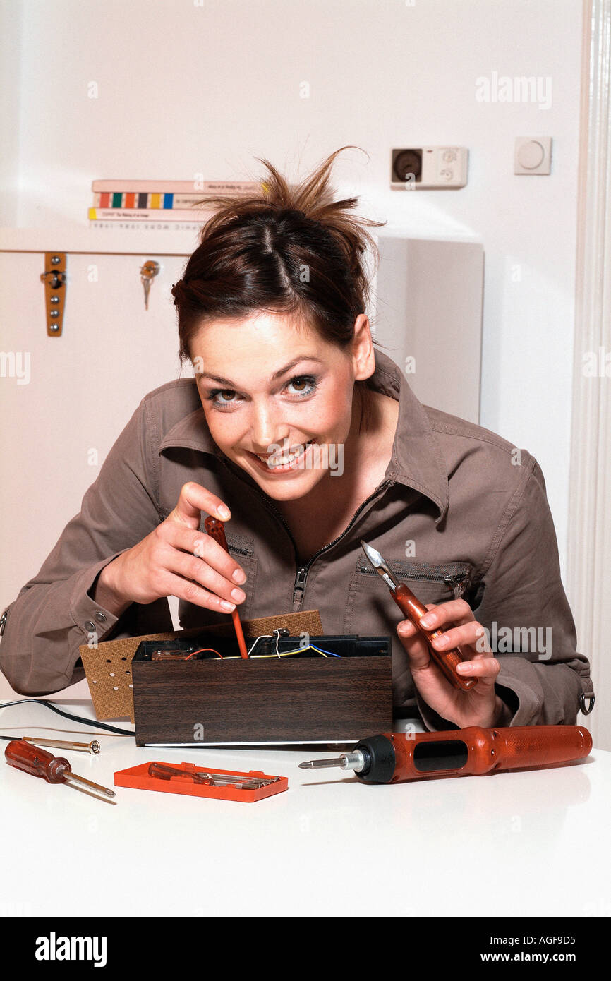 Home Fuse Box Stock Photos Images Alamy Major Young Woman With Image