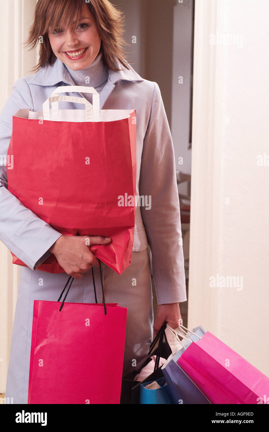 Young woman with shopping - Stock Image