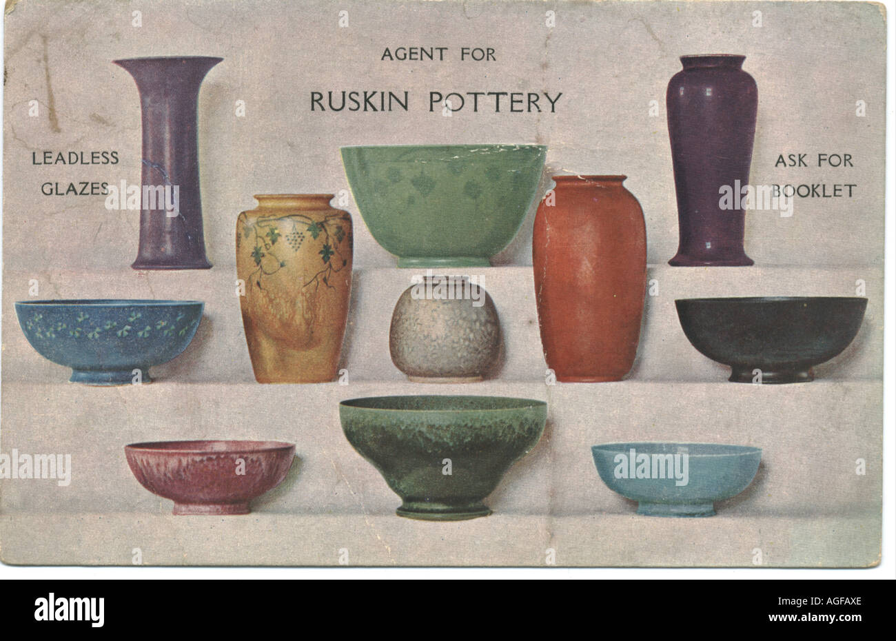 Advertisement picture postcard for Ruskin Pottery circa 1914 - Stock Image