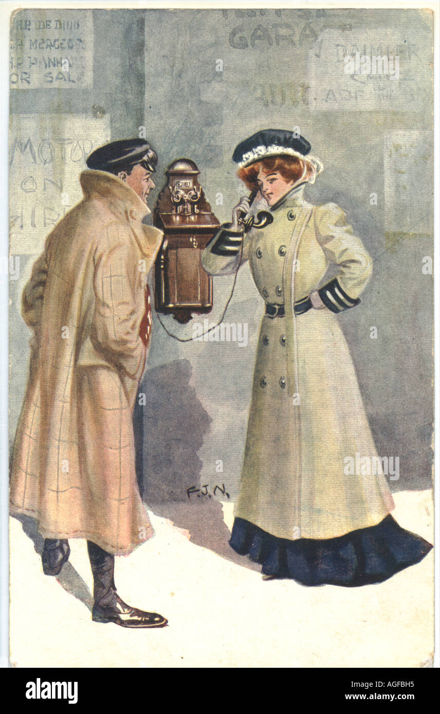 Advertising picture postcard  showing early  motoring costume postally used 1907 - Stock Image