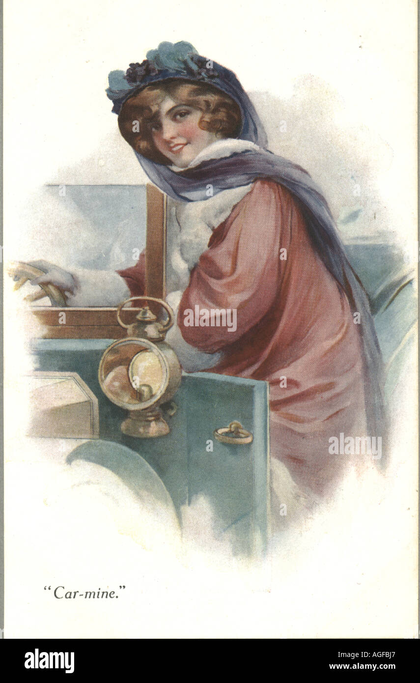 Greeting postcard titled 'Car-mine' showing early  motoring costume circa 1910 - Stock Image