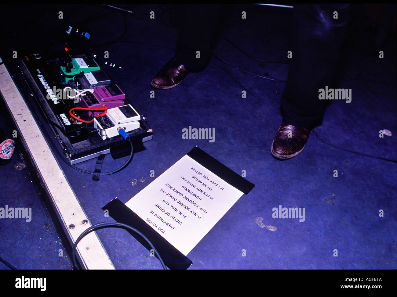 Playlist on the floor of the stage at Phoenix gig at Metro London - Stock Image