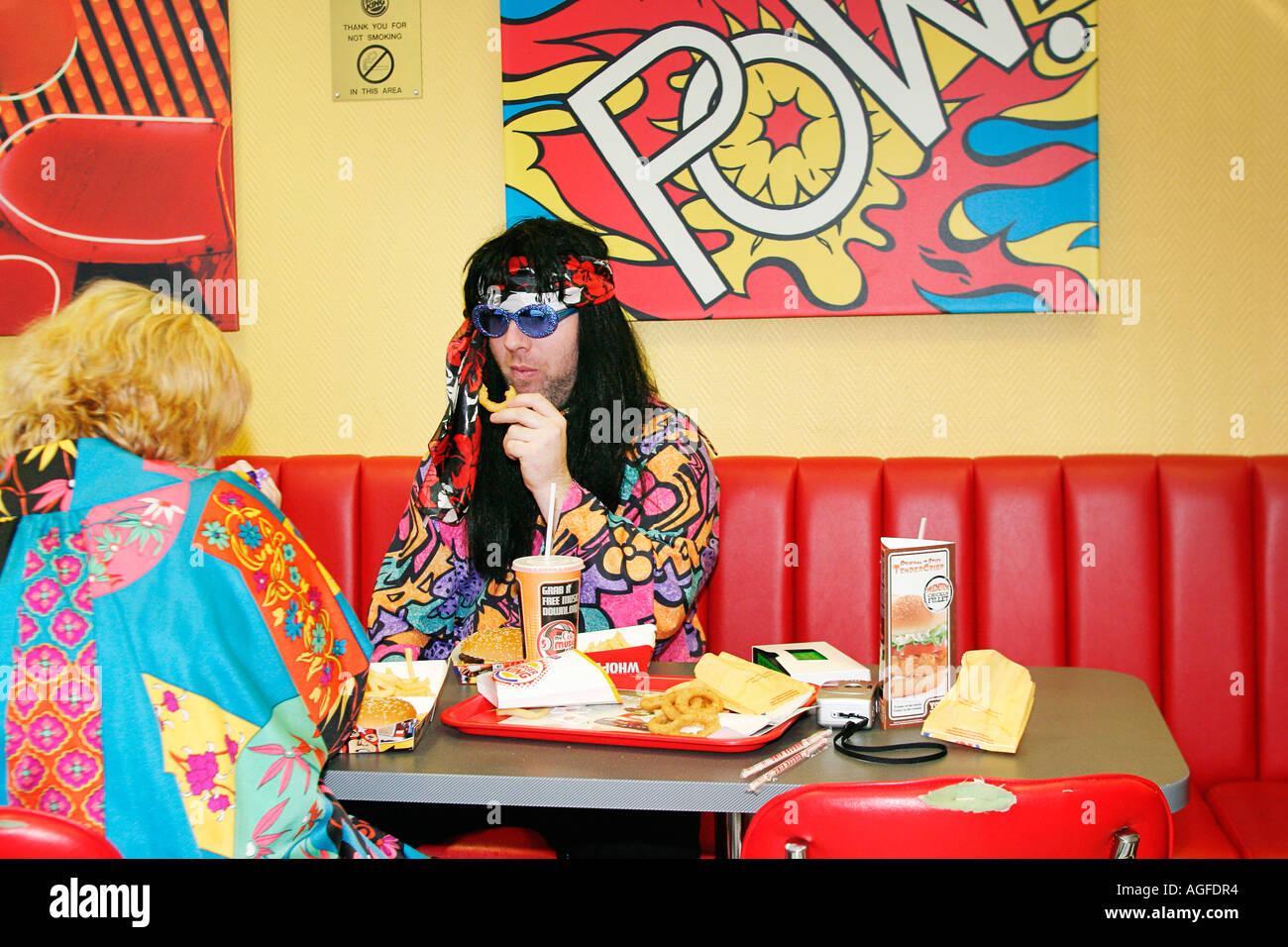 Burger King at 1970s Extravaganza at Butlins Bognor Regis - Stock Image