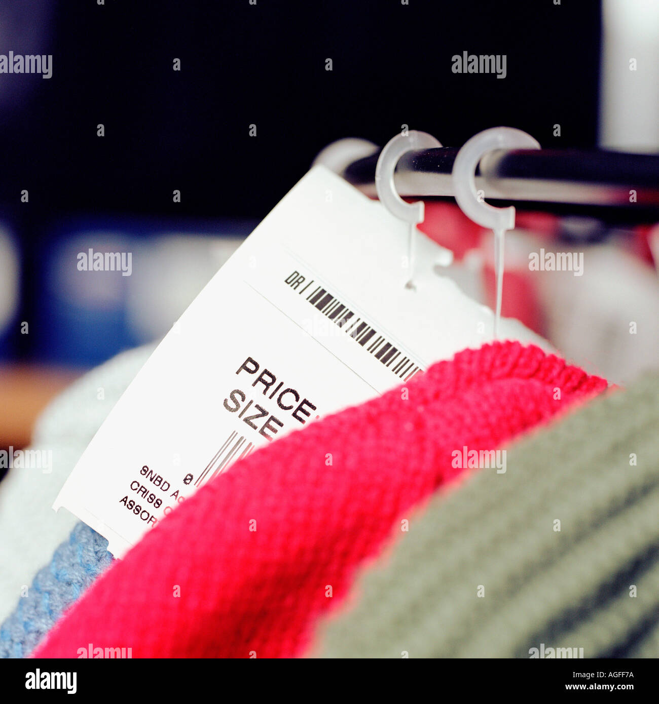 Price tag on clothes rack - Stock Image