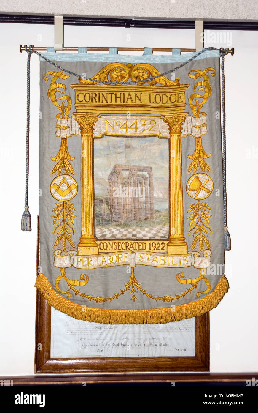 banner hanging Inside a Corinthian masonic lodge 1922 - Stock Image