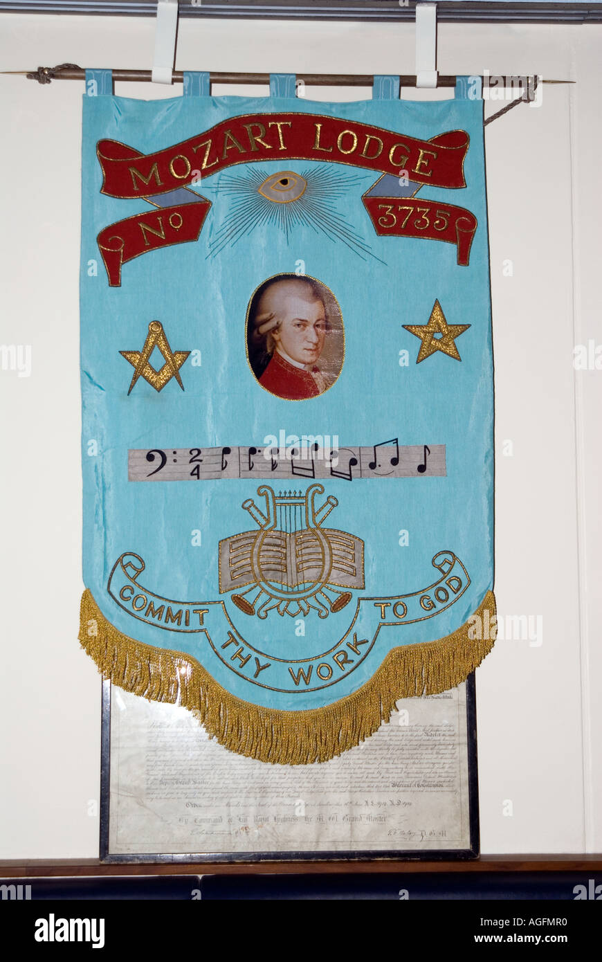 Banner Inside a masonic lodge Mozart Lodge No 373 commit thy work to God - Stock Image