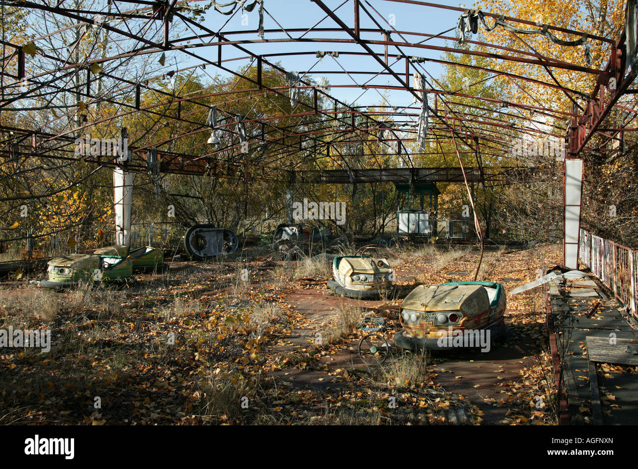 Abandoned dodgem cars Prypiat Chernobyl exclusion zone - Stock Image