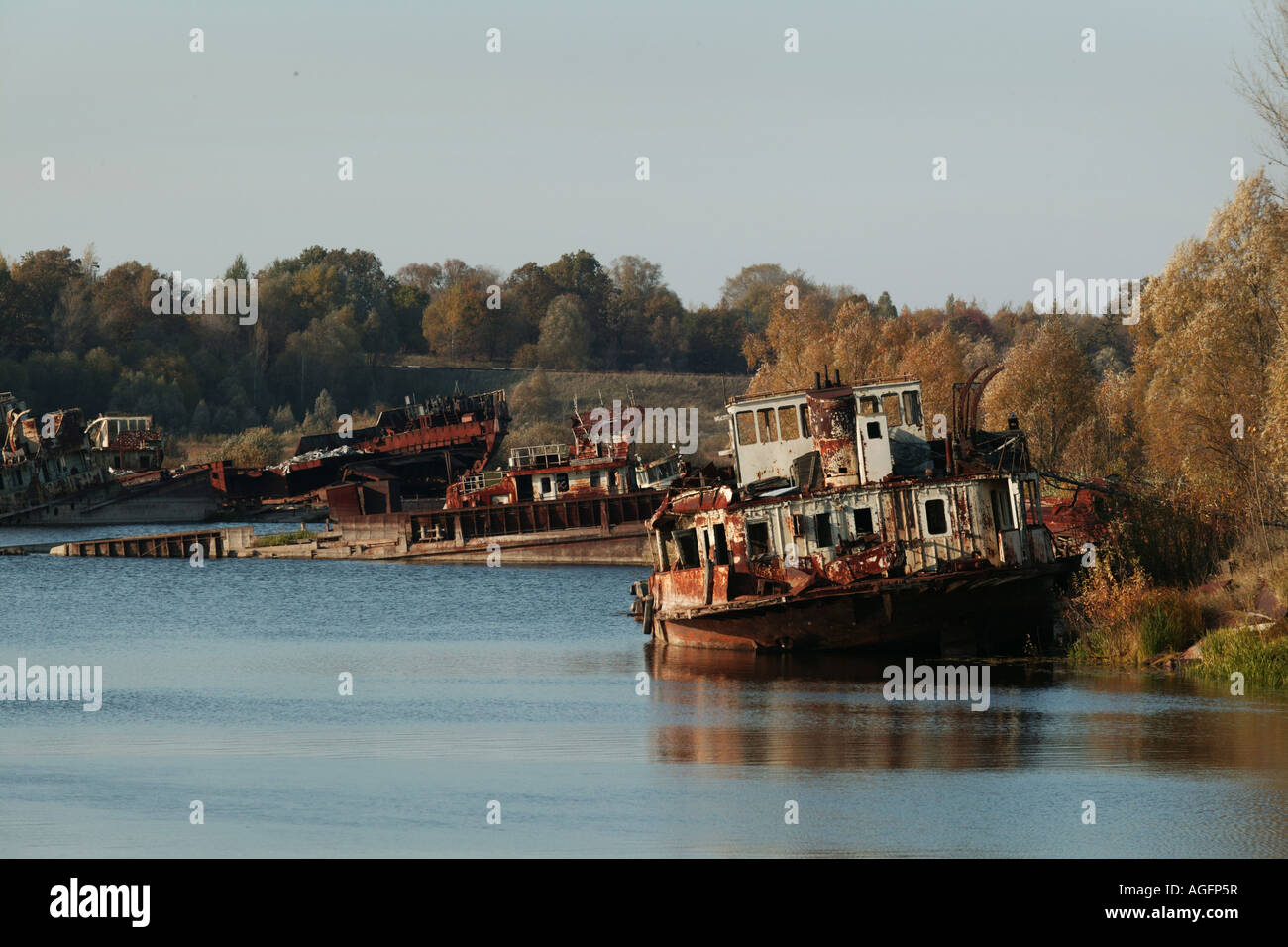 Abandoned barge used in cleanup of chernobyl nuclear disaster - Stock Image