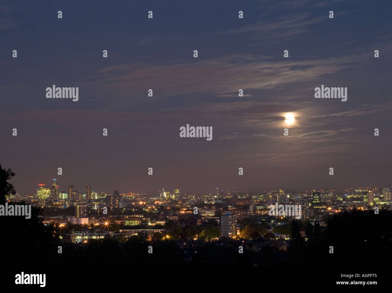 London Cityscape seen at night from Parliament Hill. Hampstead Heath, London, England - Stock Image