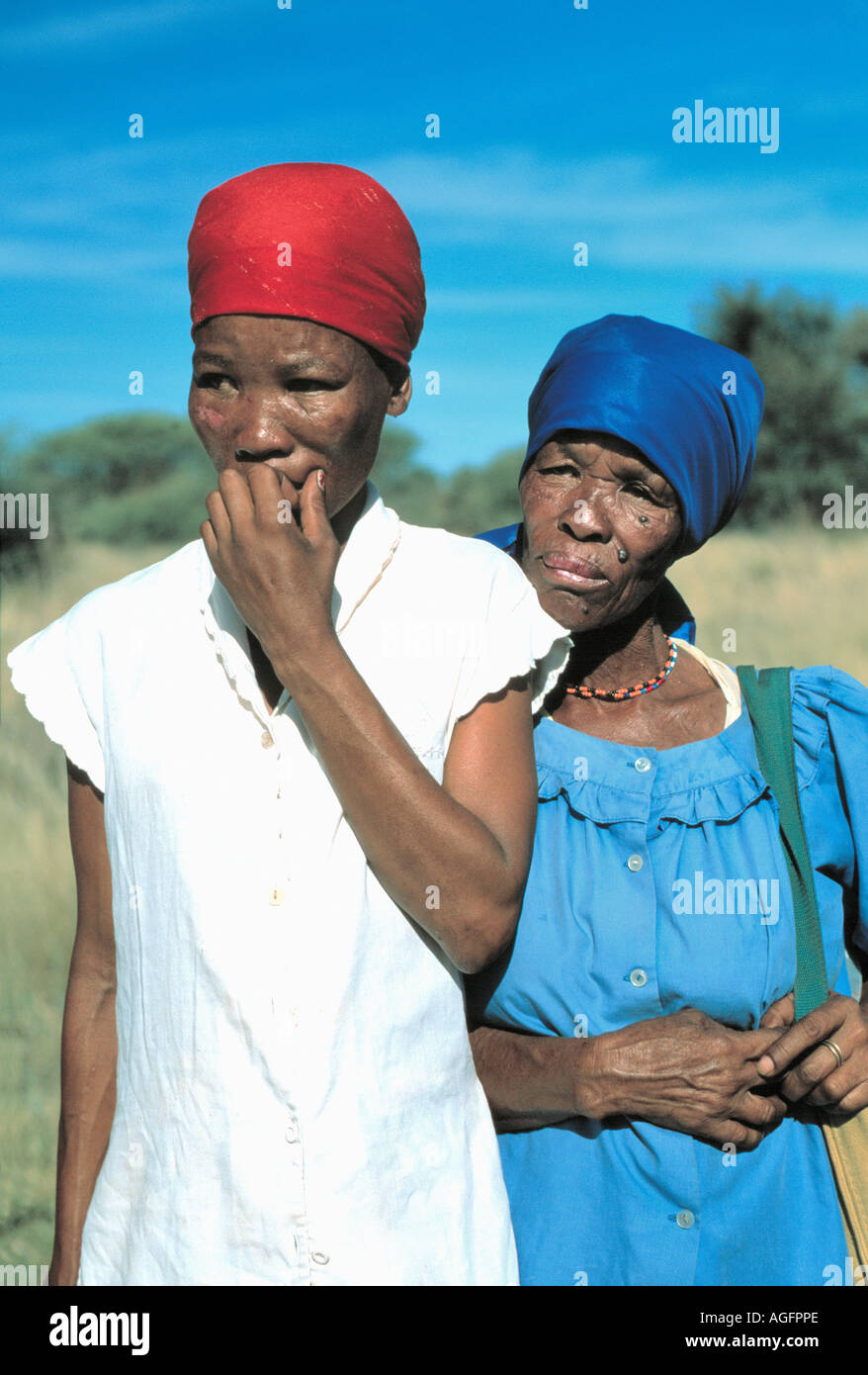 african female farmers undergoing humiliating treatment for unfaithfulness, rejected by society, Botswana - Stock Image