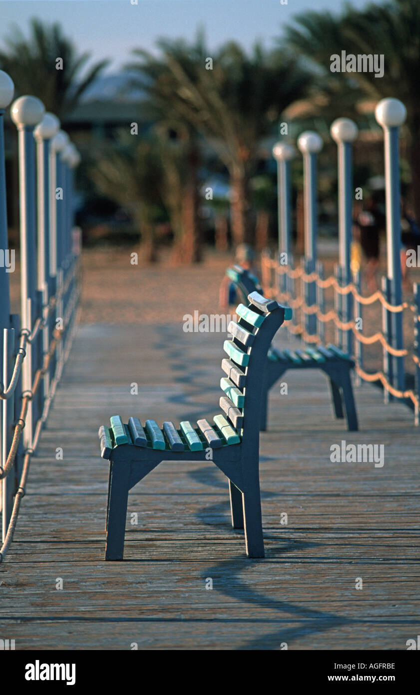 Empty seat on a jetty Red Sea coast at Nuweiba Sinai Egypt Vacation photograph Middle East - Stock Image
