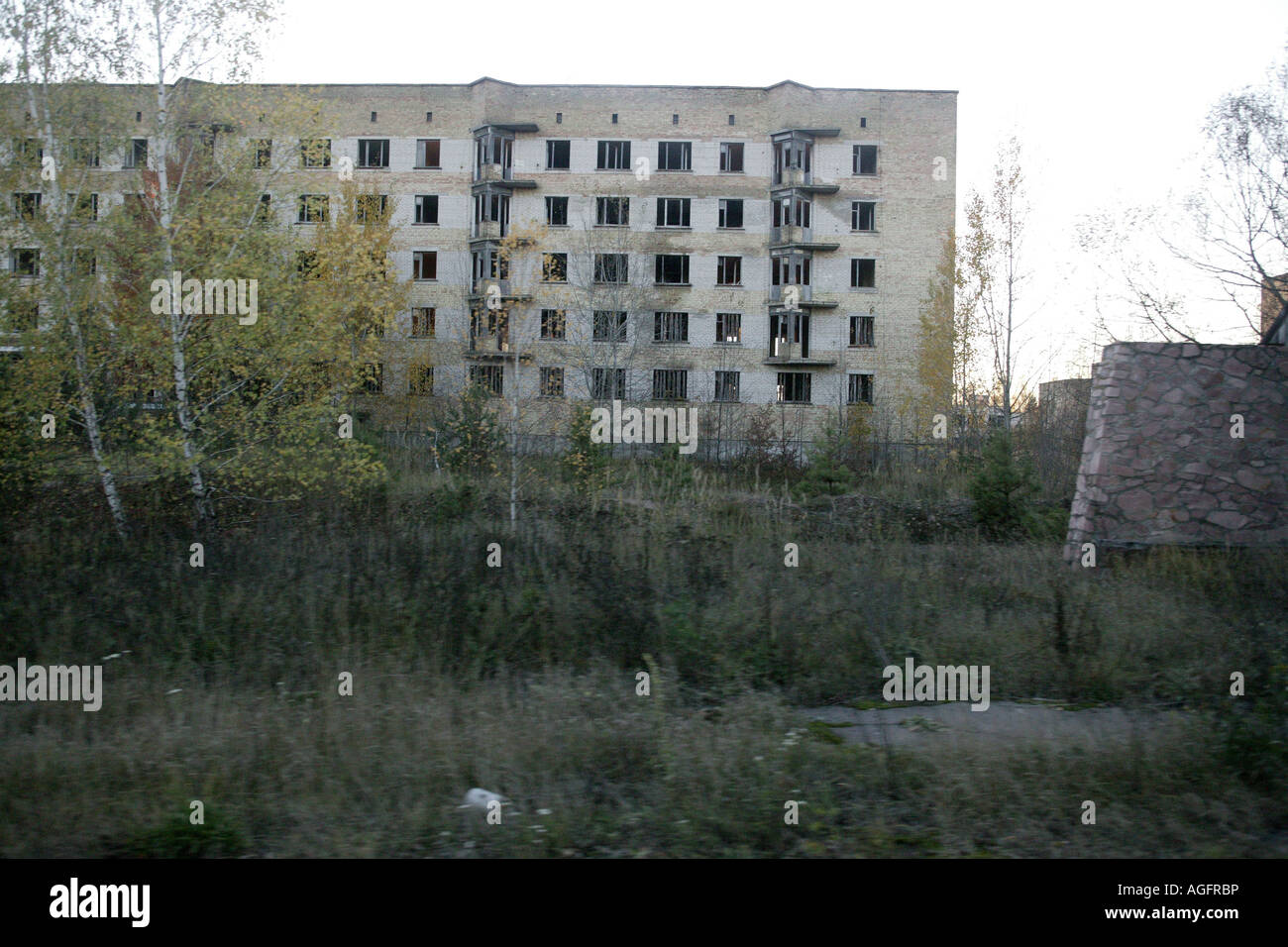 abandoned apartment buildings chernobyl exclusion zone - Stock Image