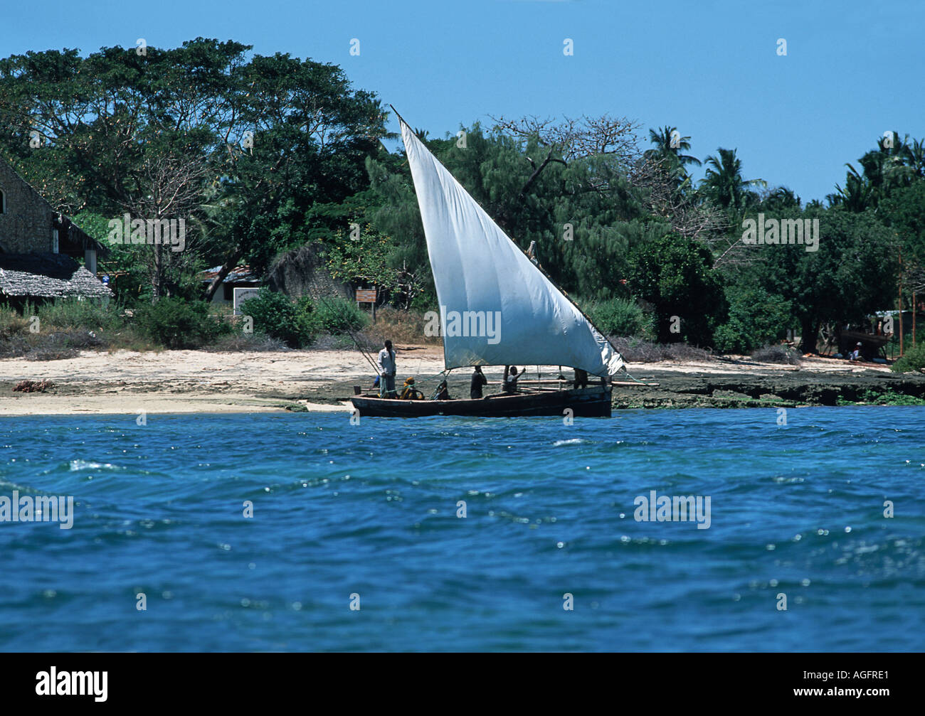 Dhow operating as a local ferry transporting people and produce between Mafia and Chole island S of Zanzibar Tanzania E Africa - Stock Image