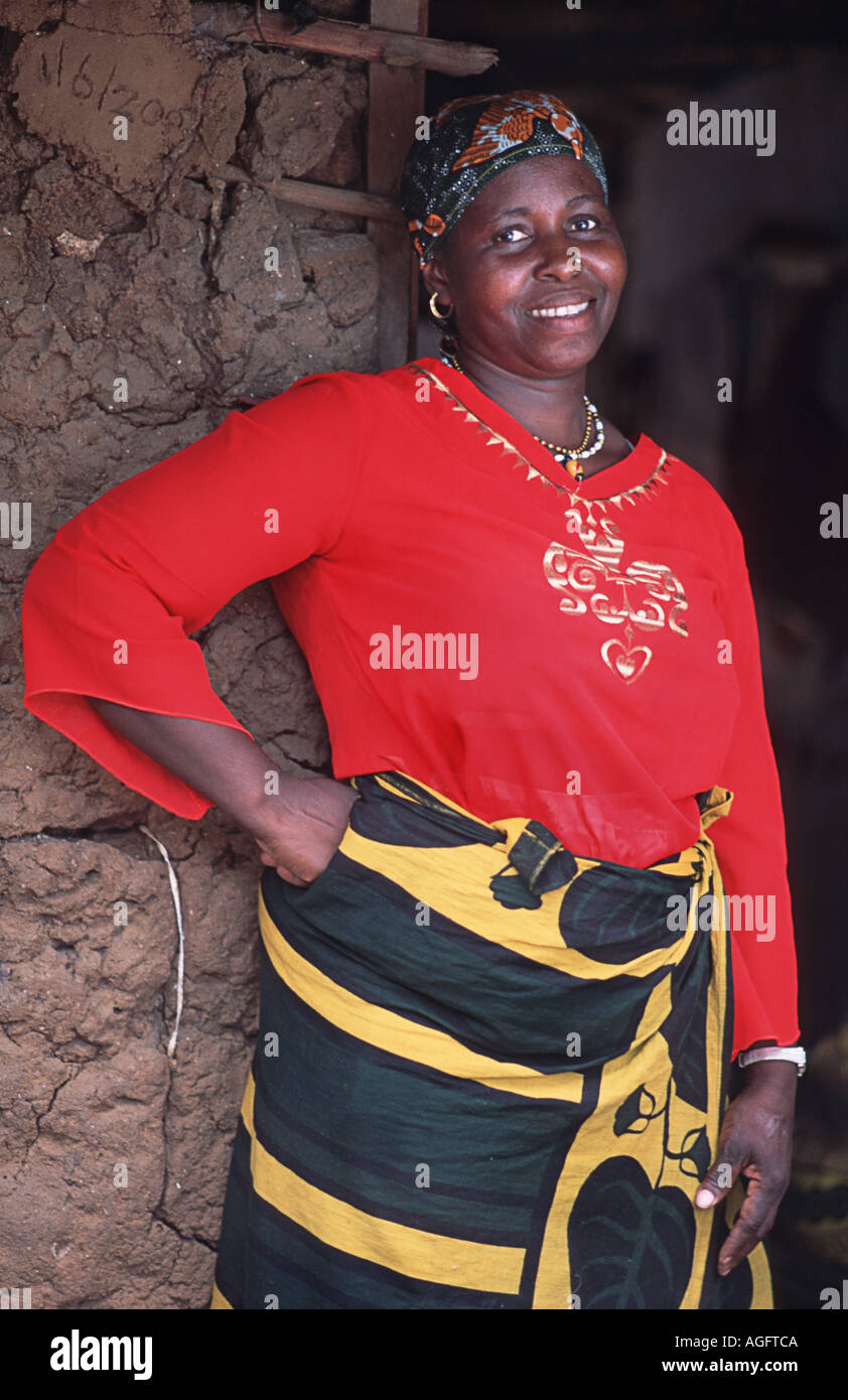 Friendly local woman poses for a portrait Chole island Mafia south of Zanzibar Tanzania East Africa - Stock Image