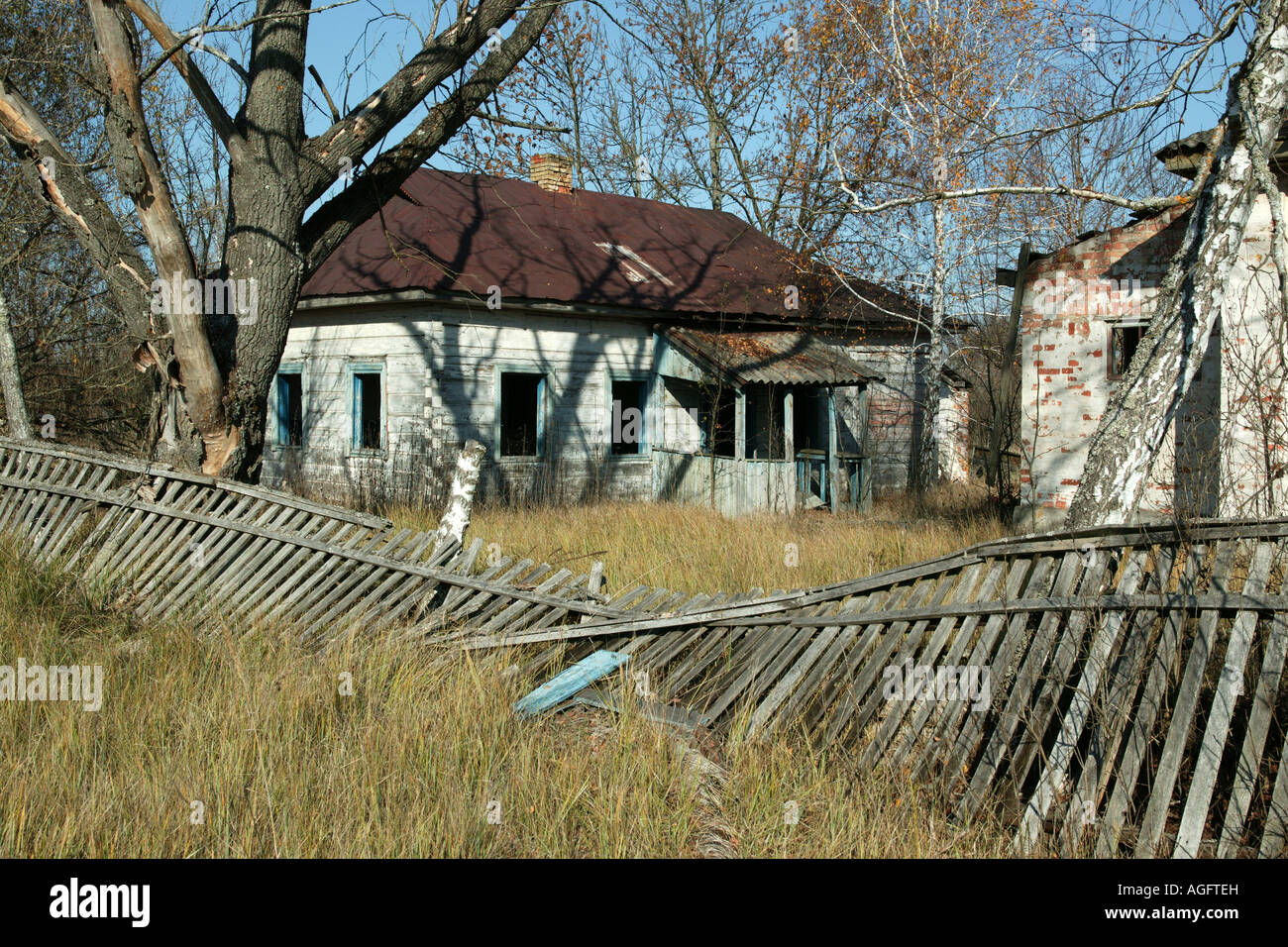 abondoned house in Chernobyl exclusion zone - Stock Image