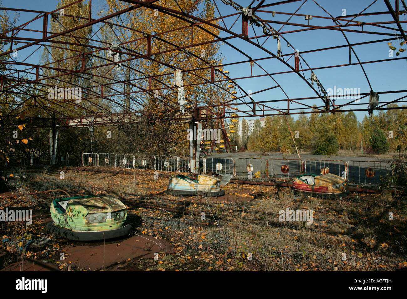 Abandoned funfair ride prypiat chernobyl exclusion zone - Stock Image