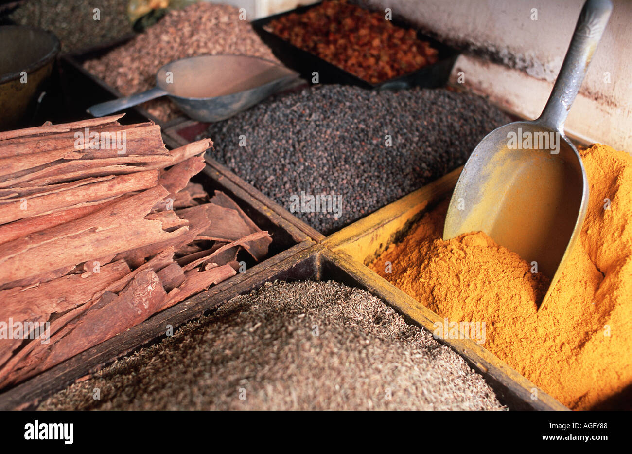 Grain spices and curry powder for sale at market Stone Town Zanzibar Tanzania Spice Tours are popular excursions - Stock Image