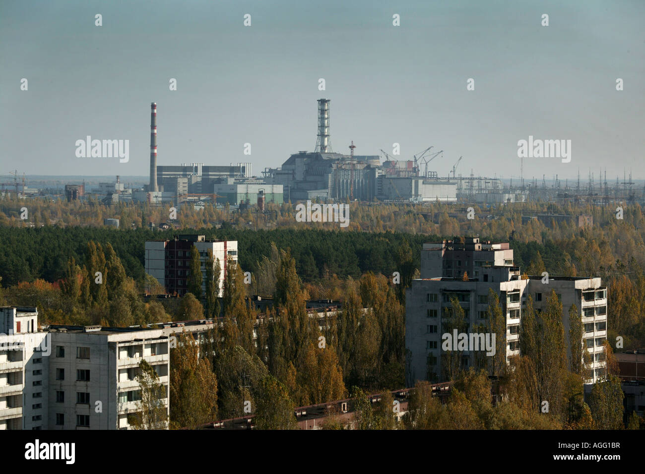 Chernobyl reactor from abandoned town of Pripyat - Stock Image