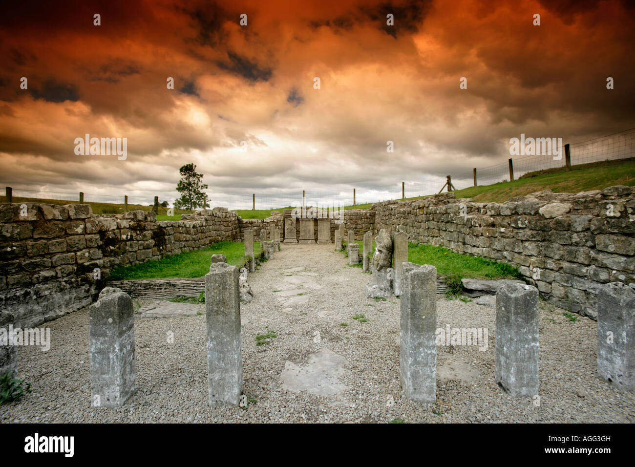 Roman Temple of Mithras at Carrawburgh or Brocolitia, Hadrian's Wall, Northumberland, UK - Stock Image