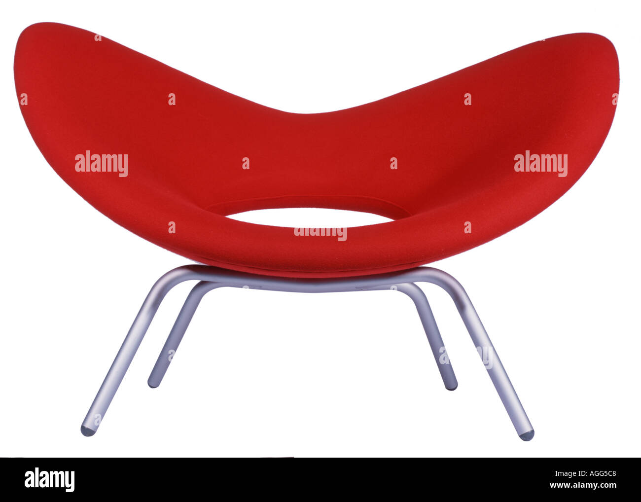 metal and red fabric chair - Stock Image