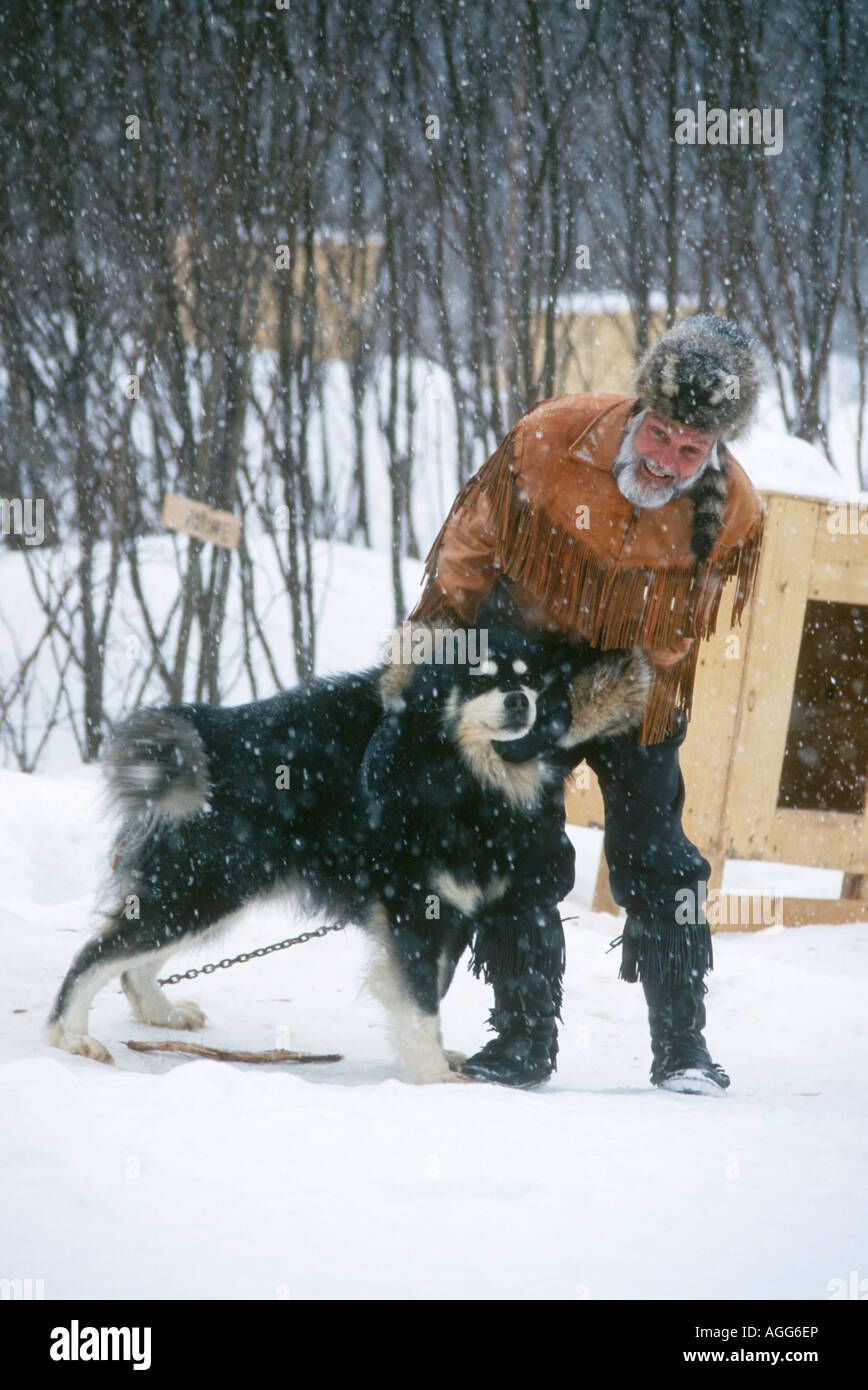 Trapper with his dog in Quebec,Canada - Stock Image