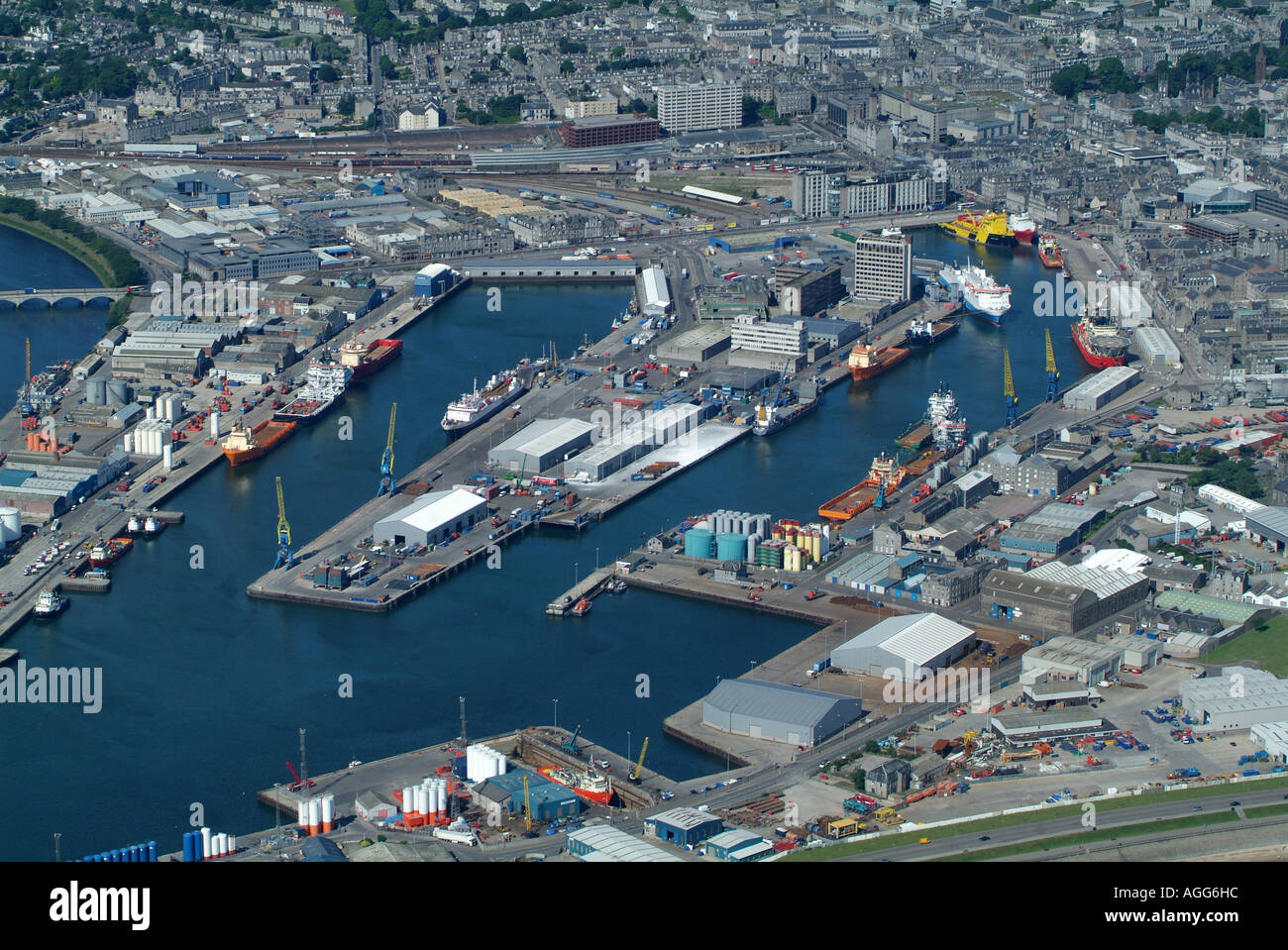 Aberdeen Harbour from the Air, Scotland, Summer 2006 - Stock Image