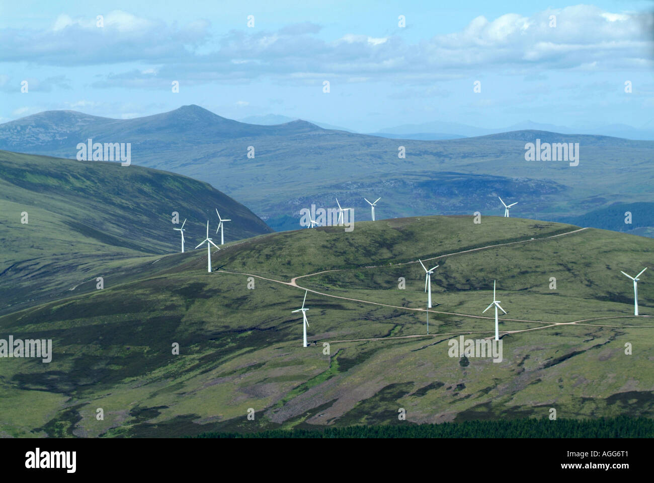 Beinn Tharsuinn windfarm, in mountains north of Inverness, Northern Scotland, summer 2006 - Stock Image