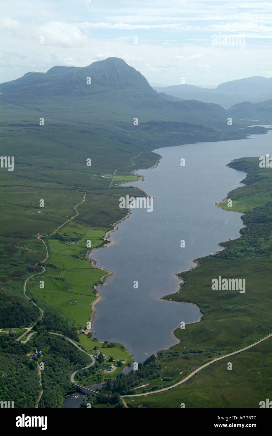 Ben Hope and Loch Hope, Sutherland, Northern Scotland, shot from the air, summer 2006 Stock Photo