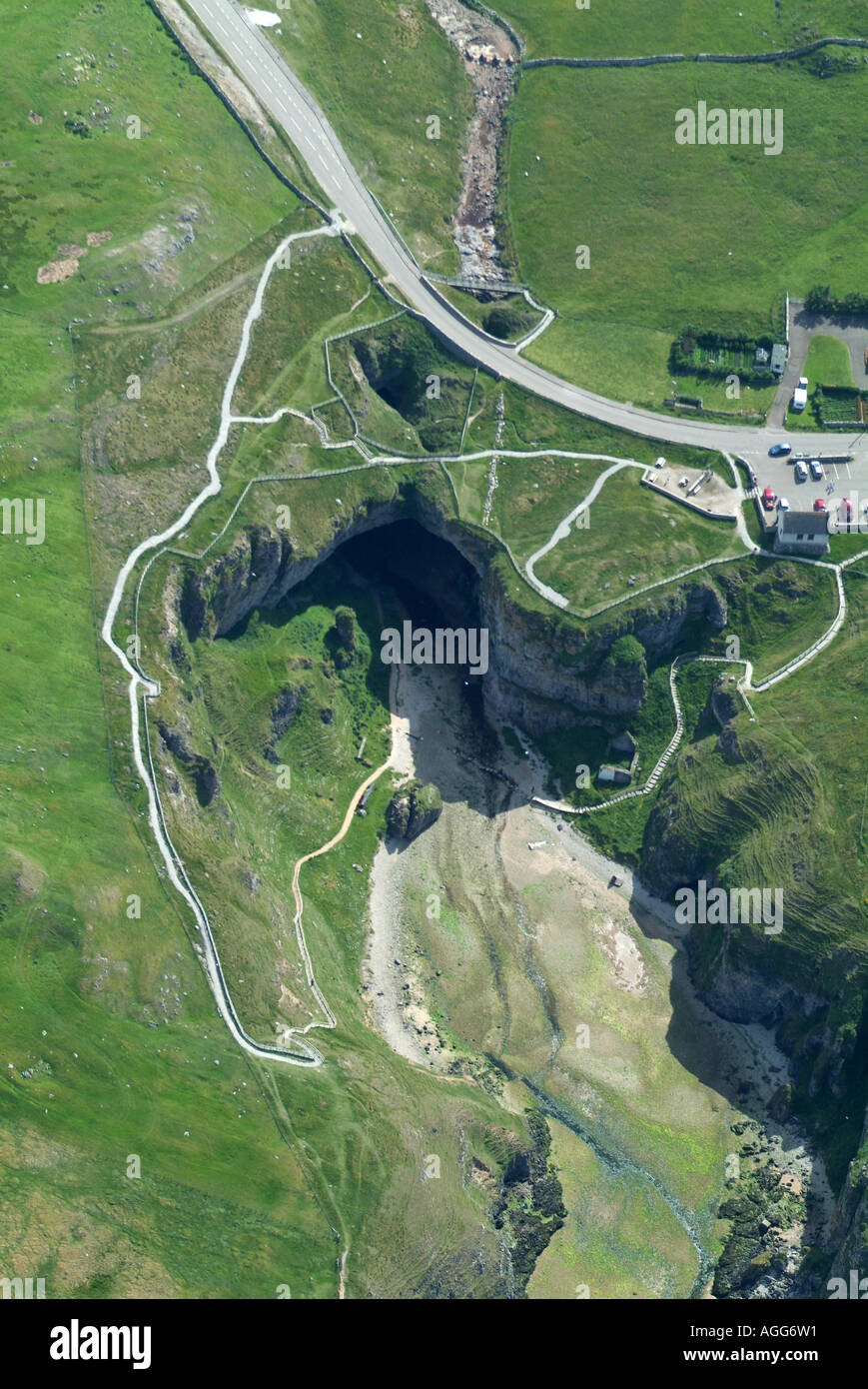 Smoo Cave from the air, Durness, Northern Scotland, summer 2006 - Stock Image