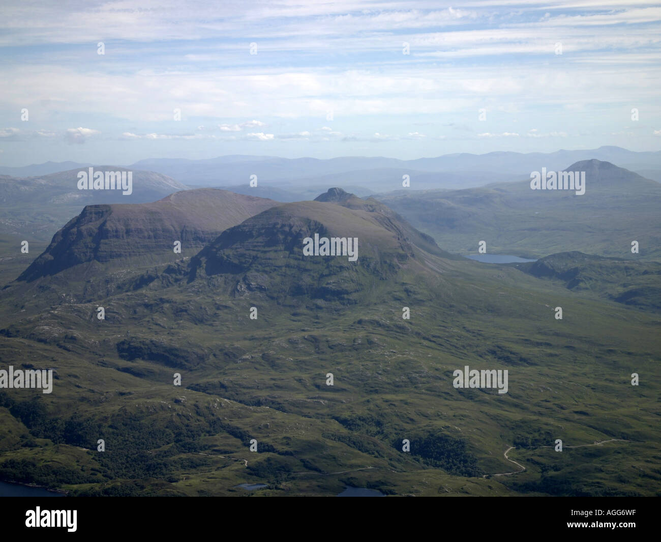 Quinag, Sutherland, North West Scotland, from the air, looking east. Stock Photo