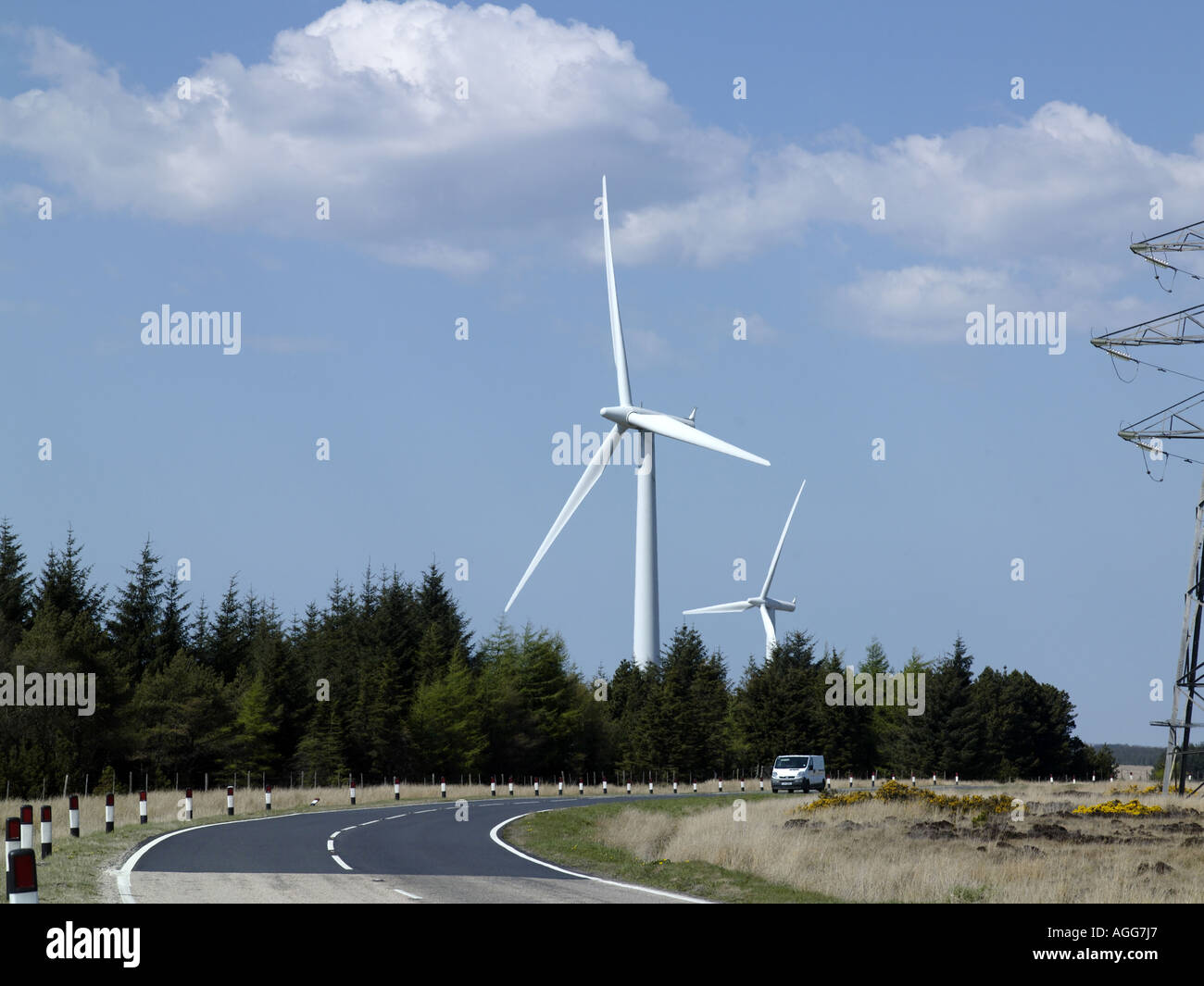 Wind Farm Turbines Caithness Northern Scotland 2006,  with vehicle on road to give scale. - Stock Image