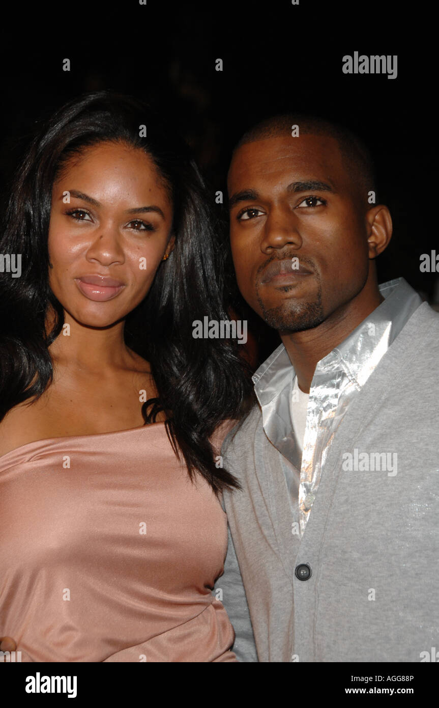 Recording artist Kanye West R at the 2007 Vanity Fair Oscar Party at Morton's Steakhouse in Los Angeles California - Stock Image