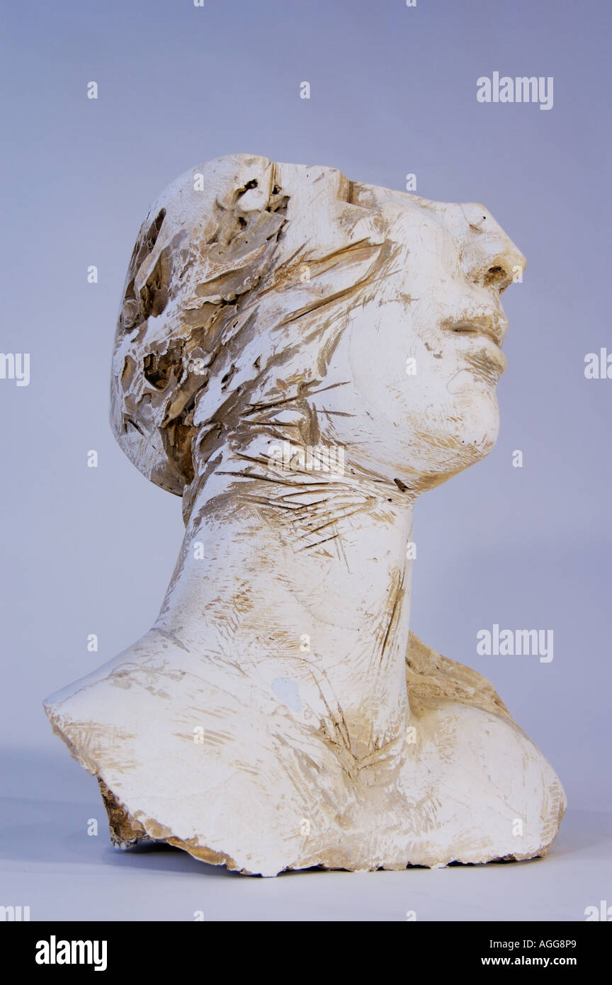artistic sculpture of female head - Stock Image