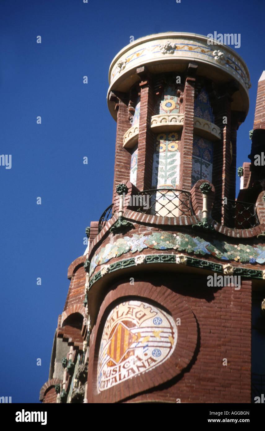 Roof corner detail on the Palua de la Musica Catalana in Barcelona Spain - Stock Image