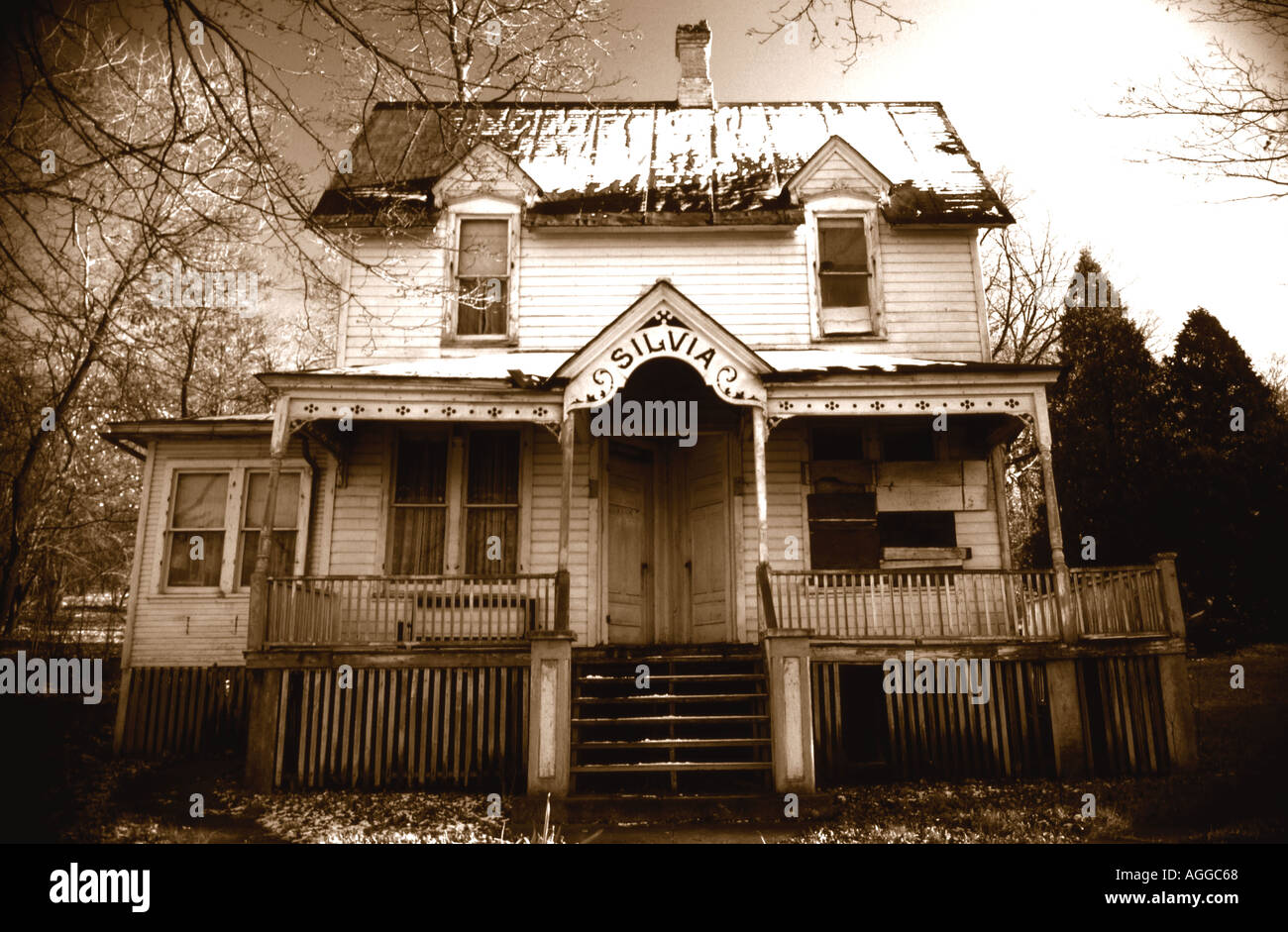 Old Victorian House Sepia Toned - Stock Image