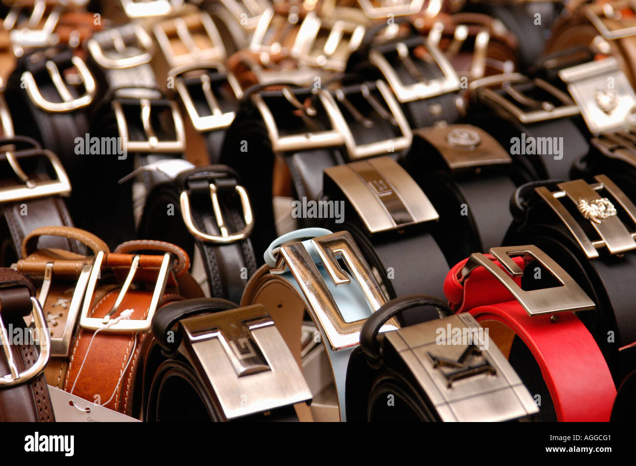 exclusive belts for sale, Rome, Italy - Stock Image