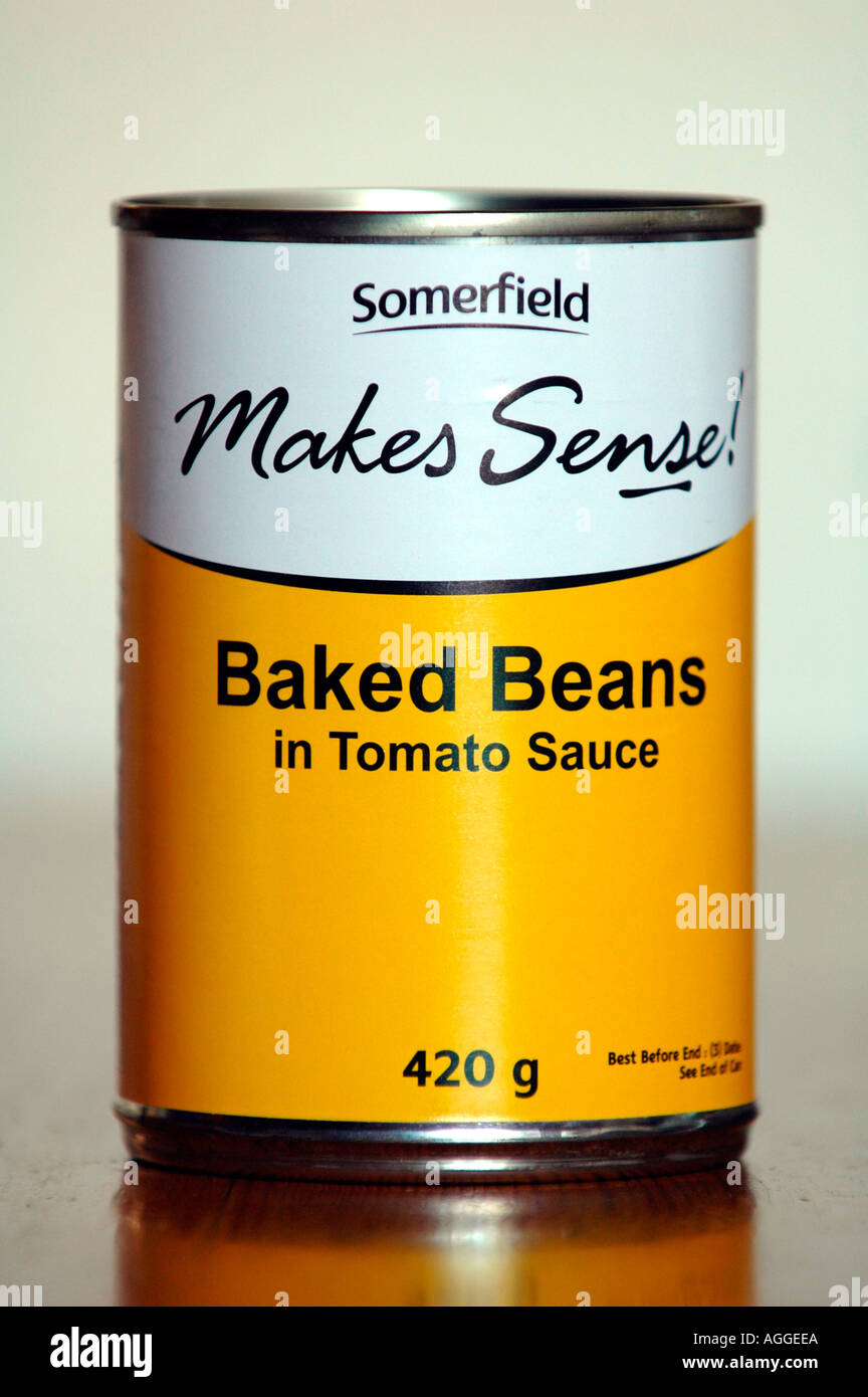 Tins of Somerfield baked beans that were given free to poor students at Aberystwyth University Ceredigion Dyfed Wales UK GB - Stock Image