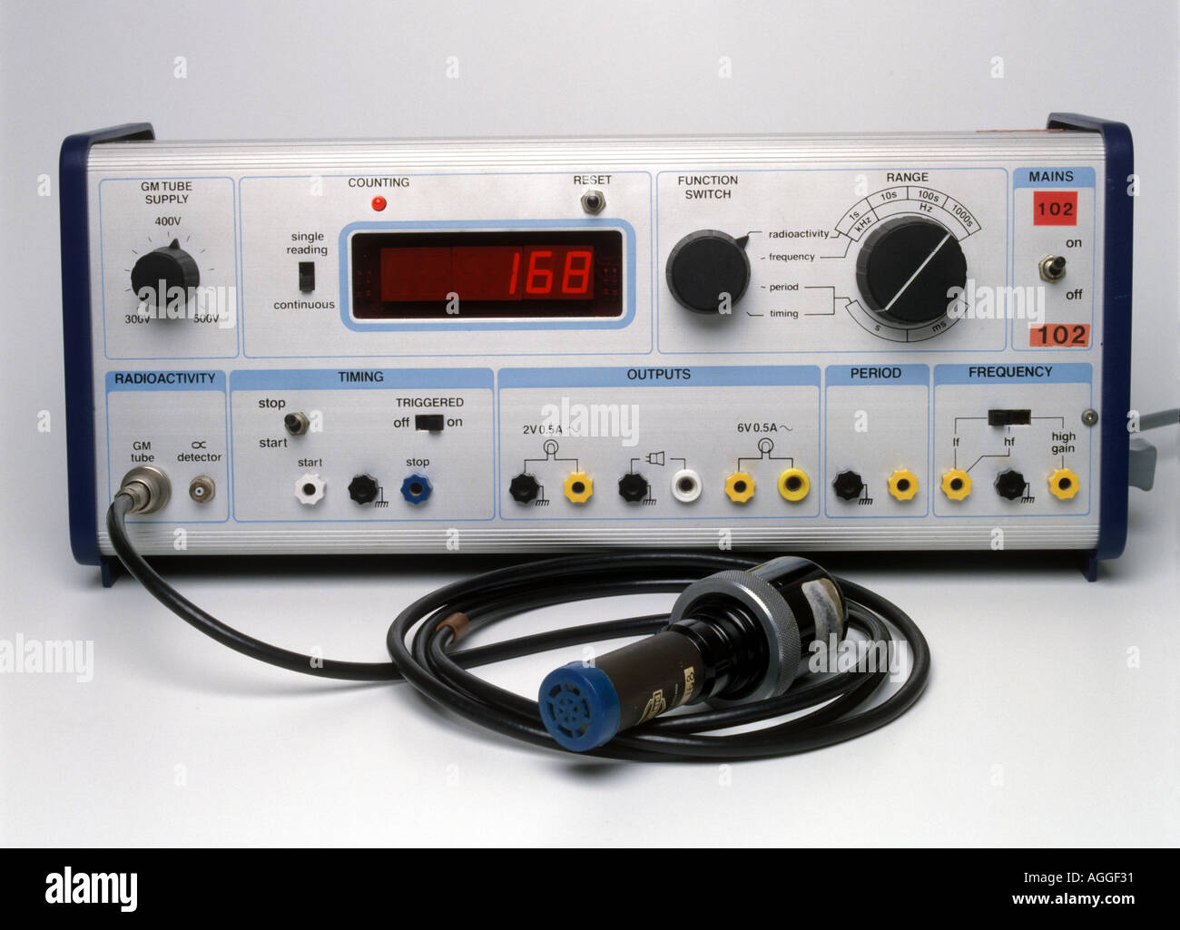 measuring radioactive background count with a geiger counter - Stock Image