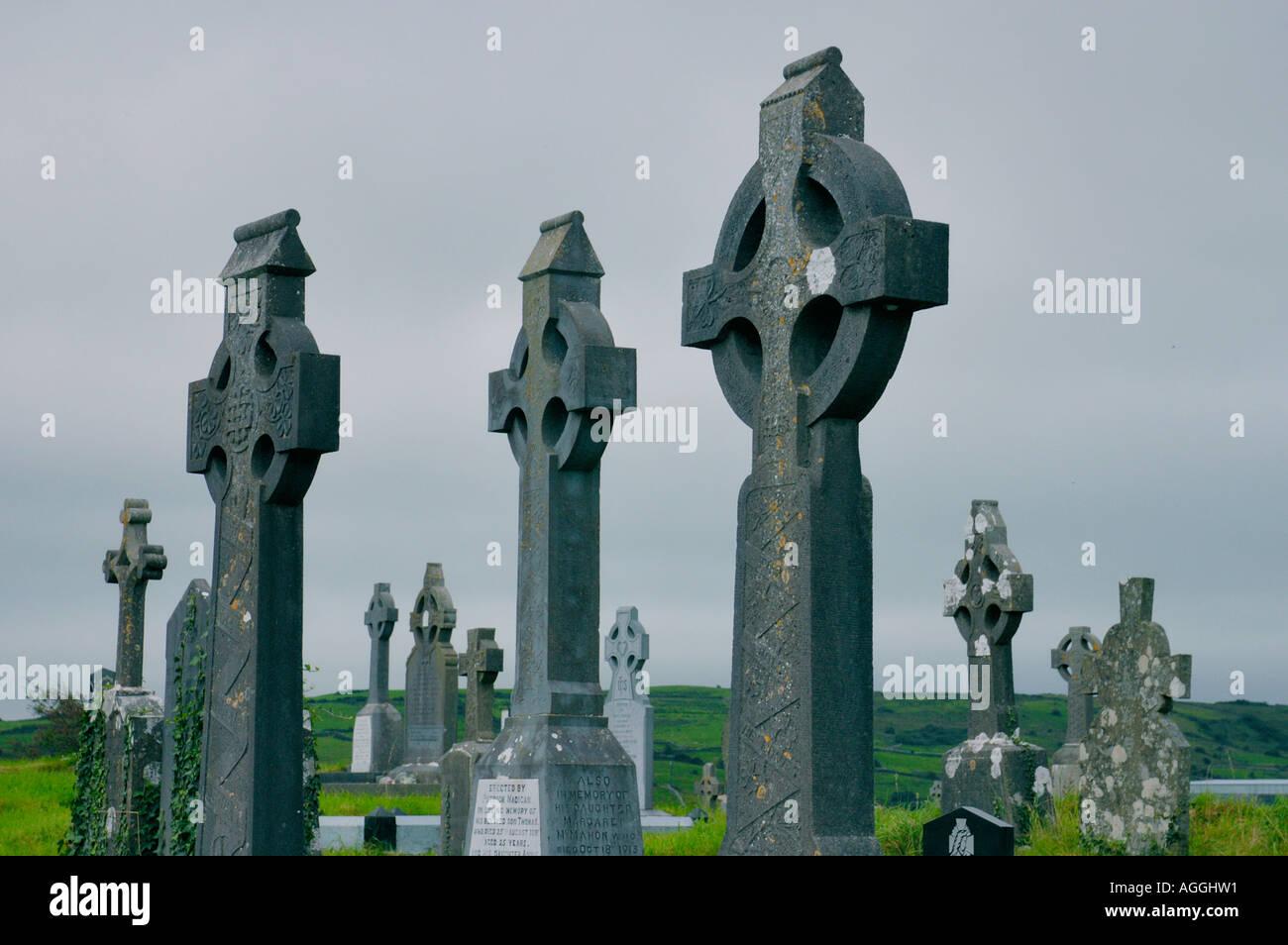 celtic crosses, cemetery, Ireland - Stock Image